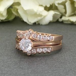 Jewelry - Rose gold round CZ 2pc sterling silver wedding set